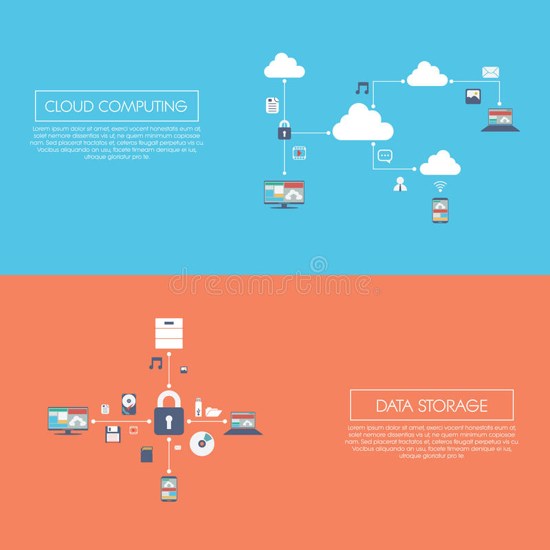 Cloud computing and data storage infographics vector illustration