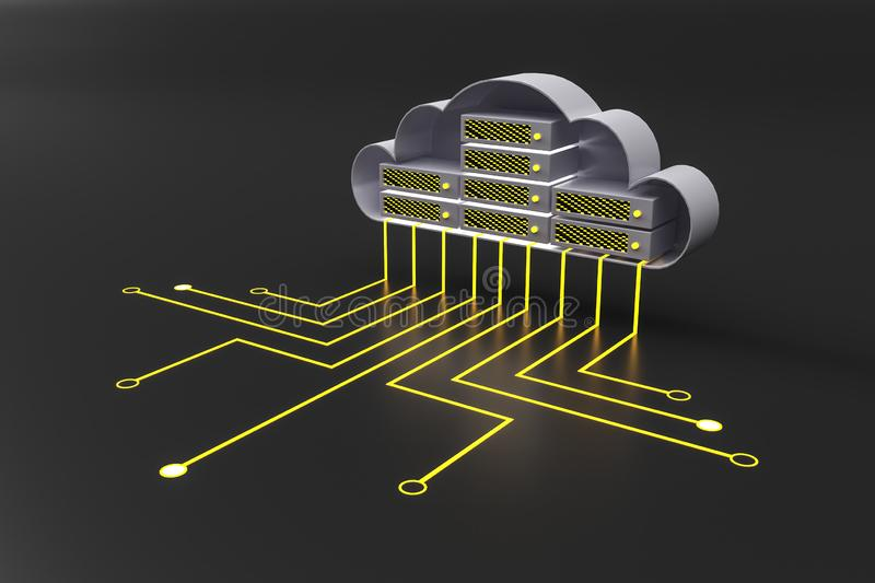 Cloud computing and database concept with cloud circuit and wires at dark background vector illustration