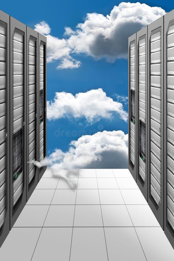 Cloud Computing Datacenter. A Conceptual vision of a Datacenter on the cloud (Cloud Computing stock images