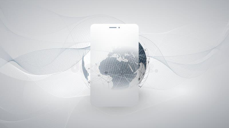Cloud Computing designbegrepp med den jordjordklotet och mobila enheten arkivbild