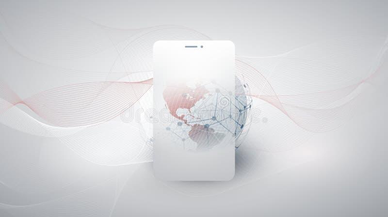 Cloud Computing designbegrepp med den jordjordklotet och mobila enheten royaltyfri foto