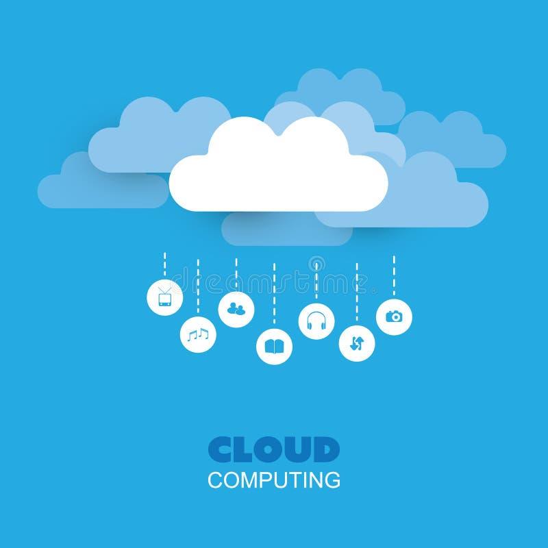 Cloud Computing designbegrepp, teknologibakgrund stock illustrationer