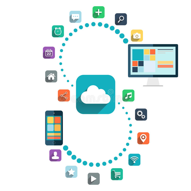 Cloud computing. Desktop computer and smart phone with color web icons vector illustration. Cloud computing. Desktop computer and smart phone with color web royalty free illustration