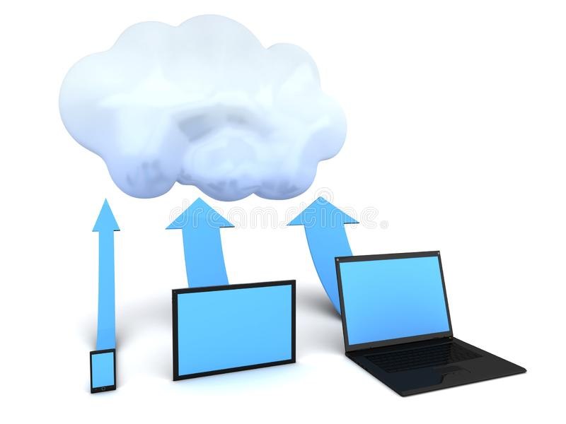 Cloud computing devices. Conceptual image. 3d image renderer stock illustration