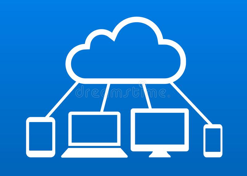 Cloud computing devices connected to internet cloud vector icon stock illustration