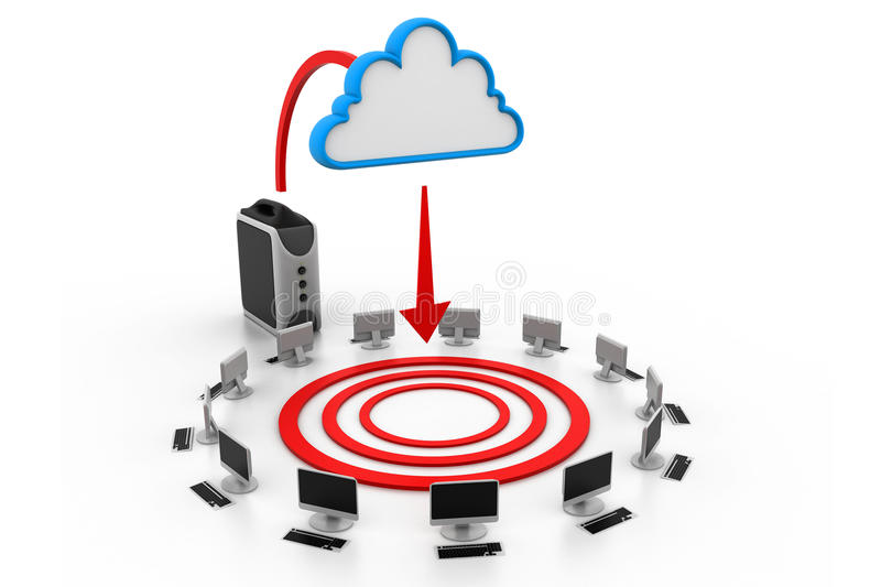 Cloud computing devices. 3d illustration of Cloud computing devices royalty free illustration