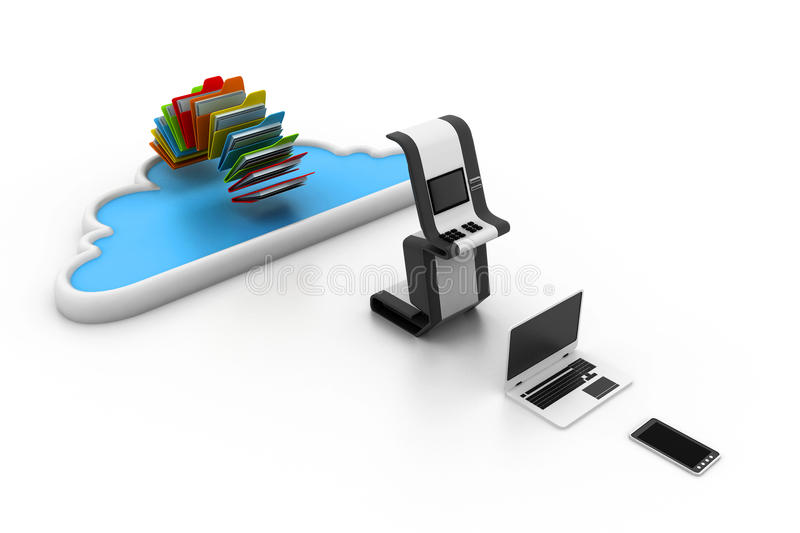 Cloud computing devices. 3d illustration of Cloud computing devices vector illustration