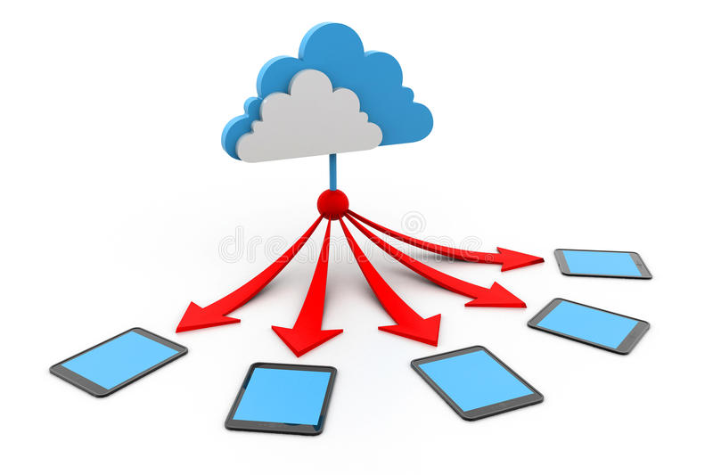 Cloud computing devices. 3d illustration of Cloud computing devices stock illustration