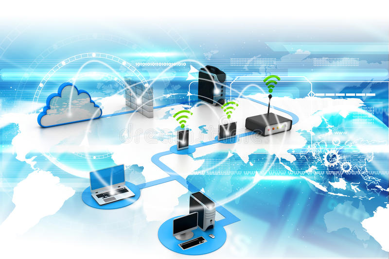 Cloud computing devices stock illustration