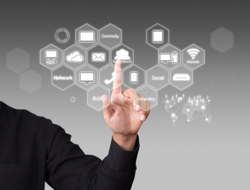 Cloud Computing diagram. Business man touching a Cloud Computing diagram stock image