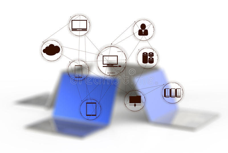 A Cloud Computing diagram on the new computer interface. As concept royalty free illustration