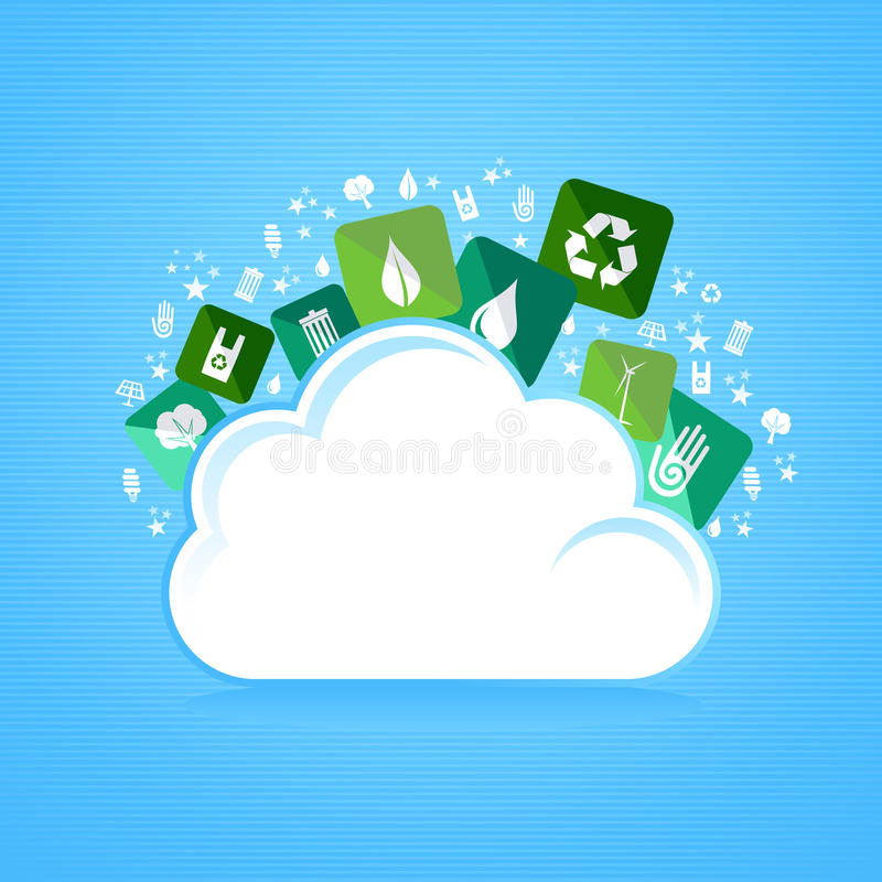 Cloud computing eco friendly icons royalty free stock photography