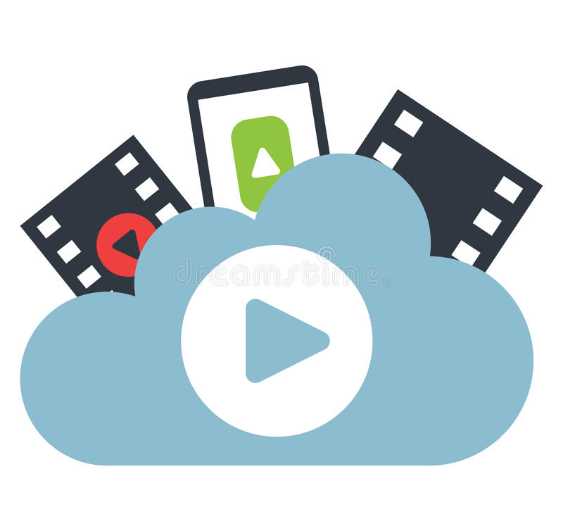 Cloud Computing and Entertainment vector illustration