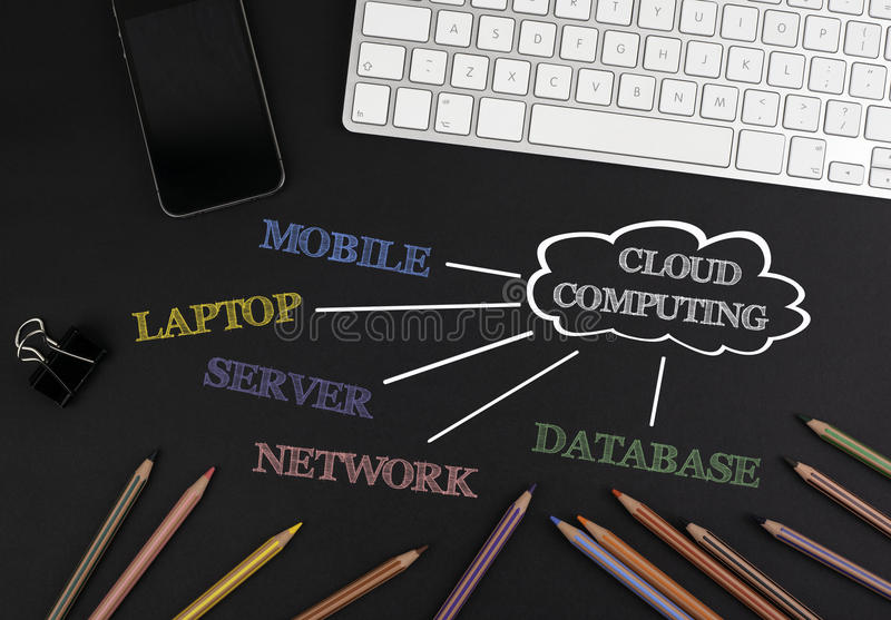 Cloud computing flowchart on a black office desk. Cloud computing flowchart on a black office desk royalty free stock photography