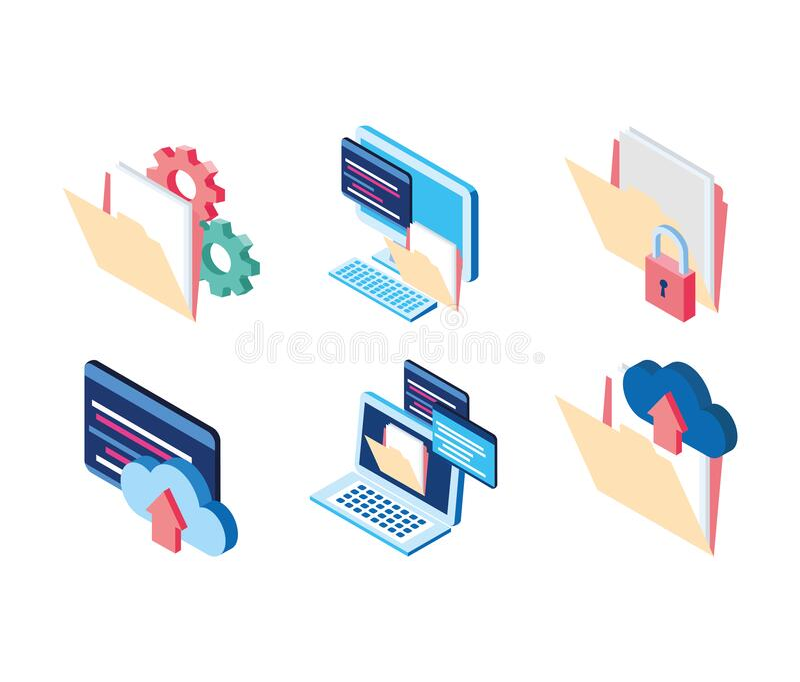 Cloud computing folder file laptop website data technology internet stock illustration