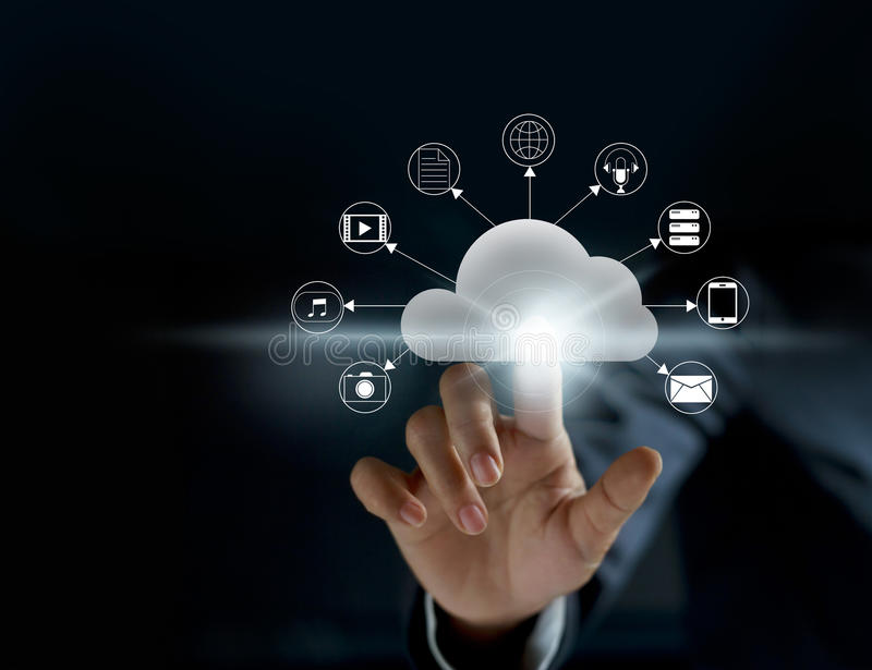 Cloud computing, futuristic display technology connectivity royalty free stock photos