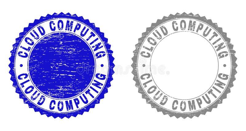 CLOUD COMPUTING grunge a rayé des joints de timbre illustration libre de droits