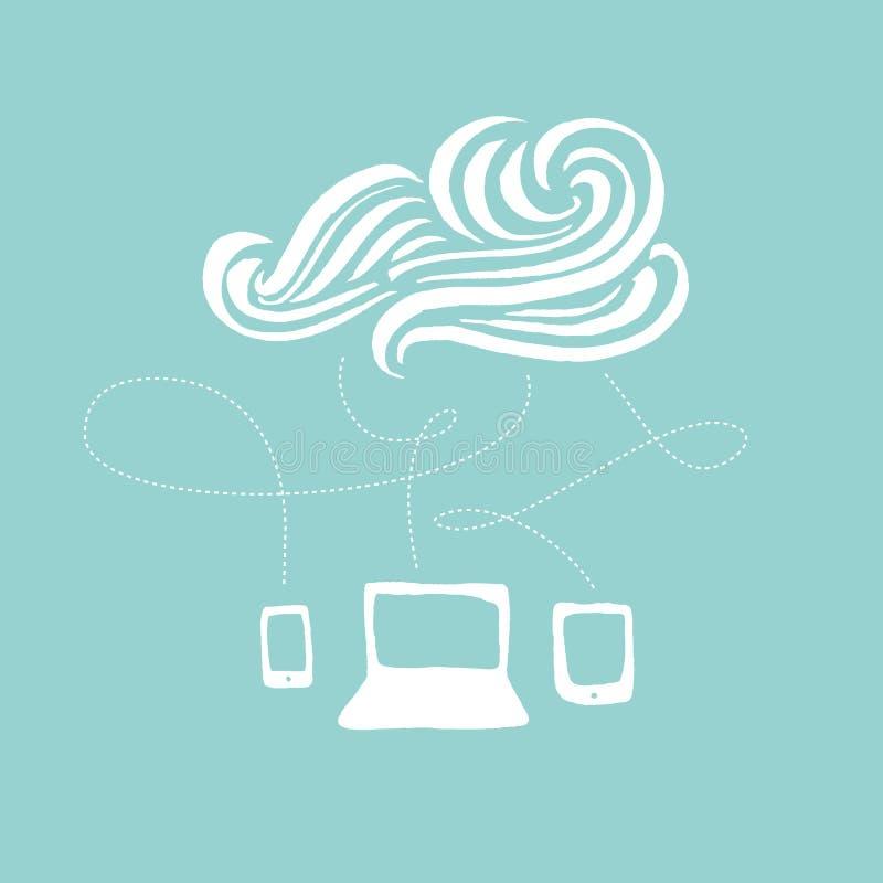 Cloud Computing hand-drawn illustration stock photo