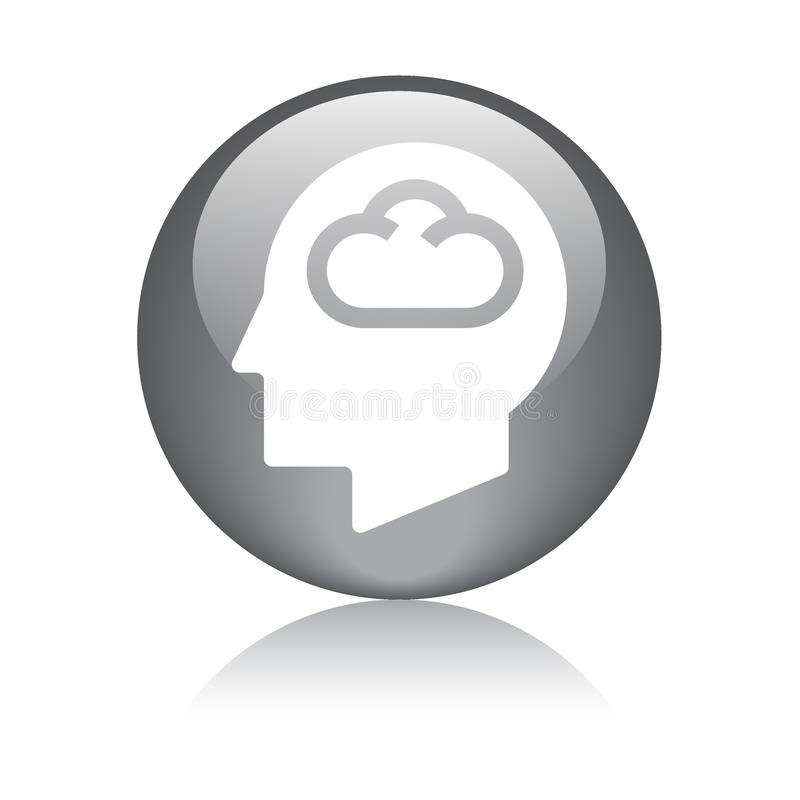 Cloud computing head icon royalty free illustration