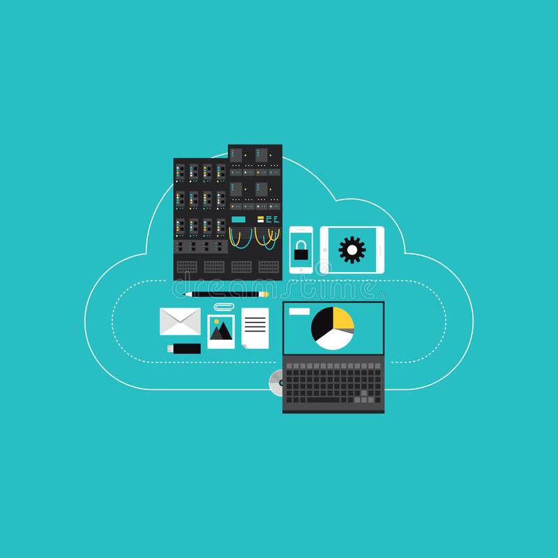 Cloud computing hosting for business development royalty free stock images