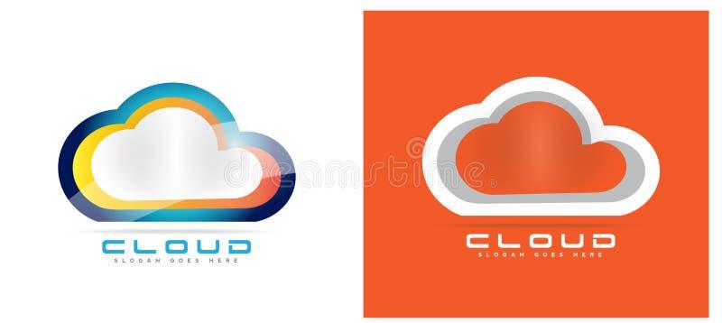 Cloud computing hosting logo stock illustration
