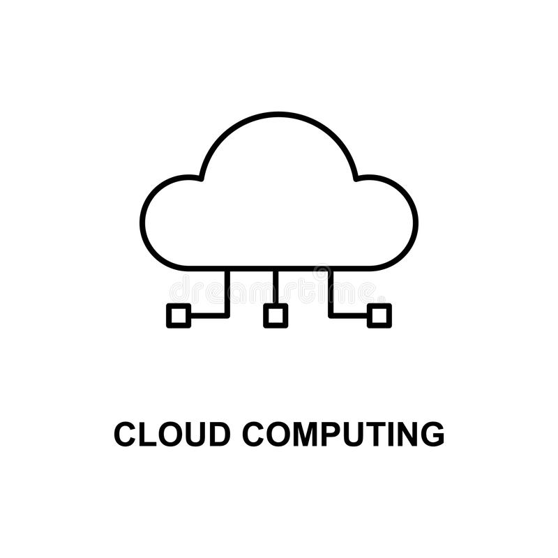 cloud computing icon. Element of technologies icon with name for mobile concept and web apps. Thin line cloud computing icon can b royalty free illustration