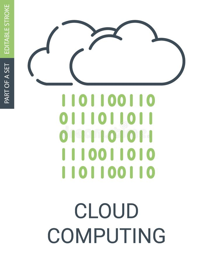 Cloud Computing Icon With Outline Style and Editable Stroke royalty free illustration