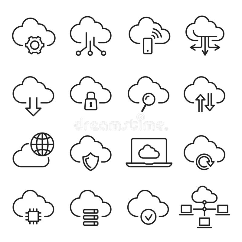 Cloud computing icon set, information and database vector illustration