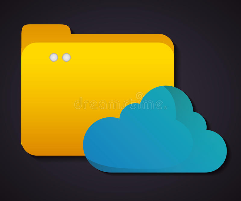 Cloud computing icon.Technology design. Vector graphic. Technology concept represented by cloud computing icon. Colorfull and flat illustration royalty free illustration