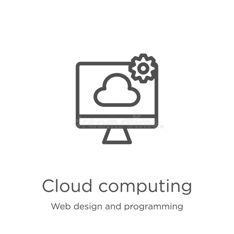Cloud computing icon vector from web design and programming collection. Thin line cloud computing outline icon vector illustration. Cloud computing icon. Element royalty free illustration