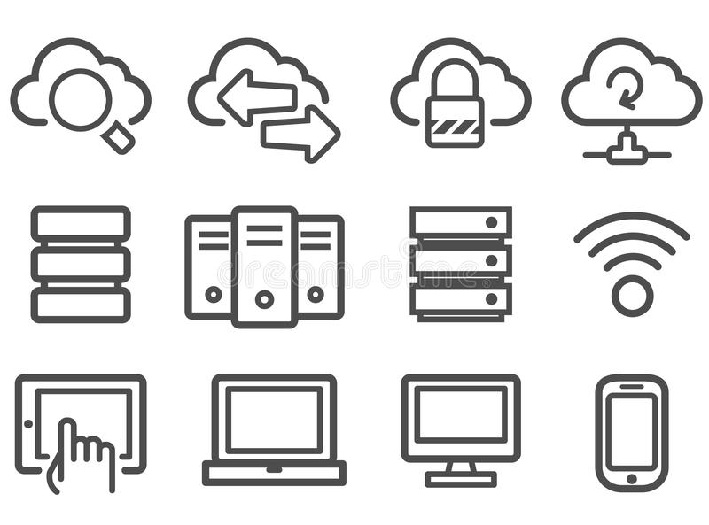 Download Cloud computing icons stock vector. Image of tablet, transfer - 25850418