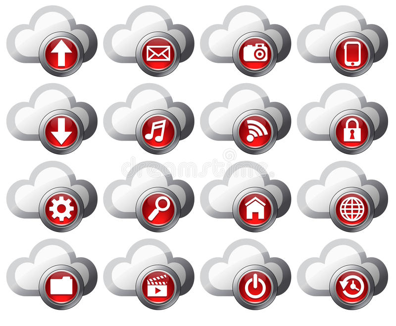 Cloud Computing icons - SET 1. Virtual cloud icons upload, download, folders, pictures, film, video, music, email, mobile phone connection, restore, backup and royalty free illustration