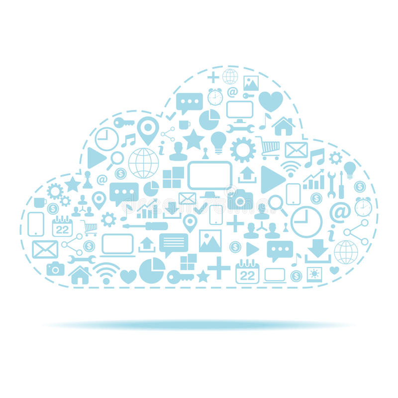 Cloud computing. Icons set with cloud icon vector illustration. royalty free illustration