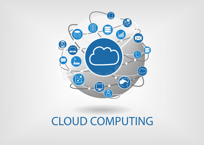 Cloud computing illustration with connected devices like notebooks, tablets, smart phones stock illustration