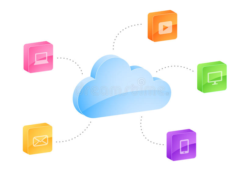 Cloud computing. Illustration with different electronic gadgets/information source in isolated background vector illustration