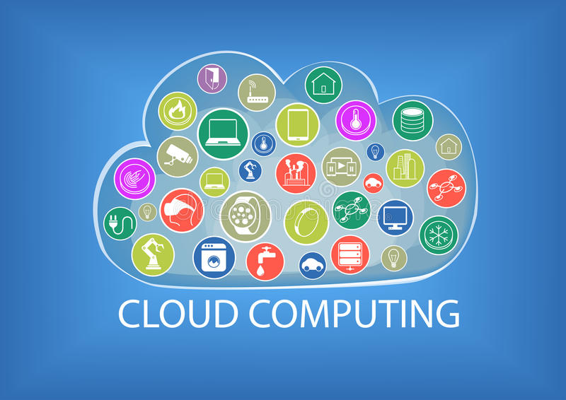 Cloud computing illustration including the connectivity of different devices stock illustration