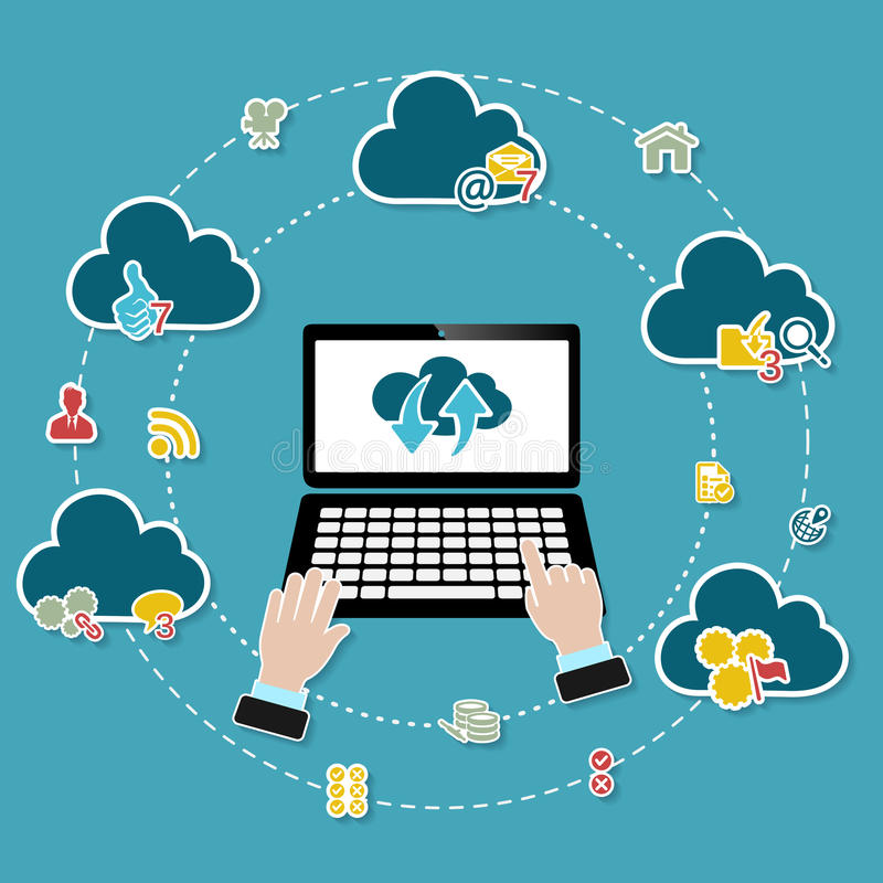 Cloud computing. Illustration with working laptop and icons on blue background vector illustration