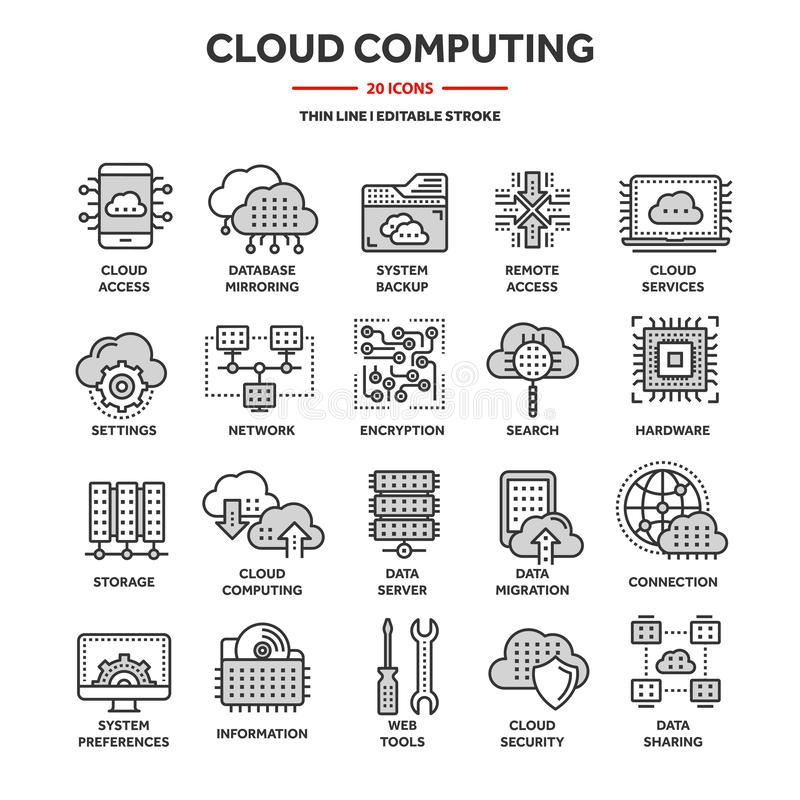 Cloud computing. Internet technology. Online services. Data, information security. Connection. Thin line blue web icon. Set. Outline icons collection.Vector stock illustration