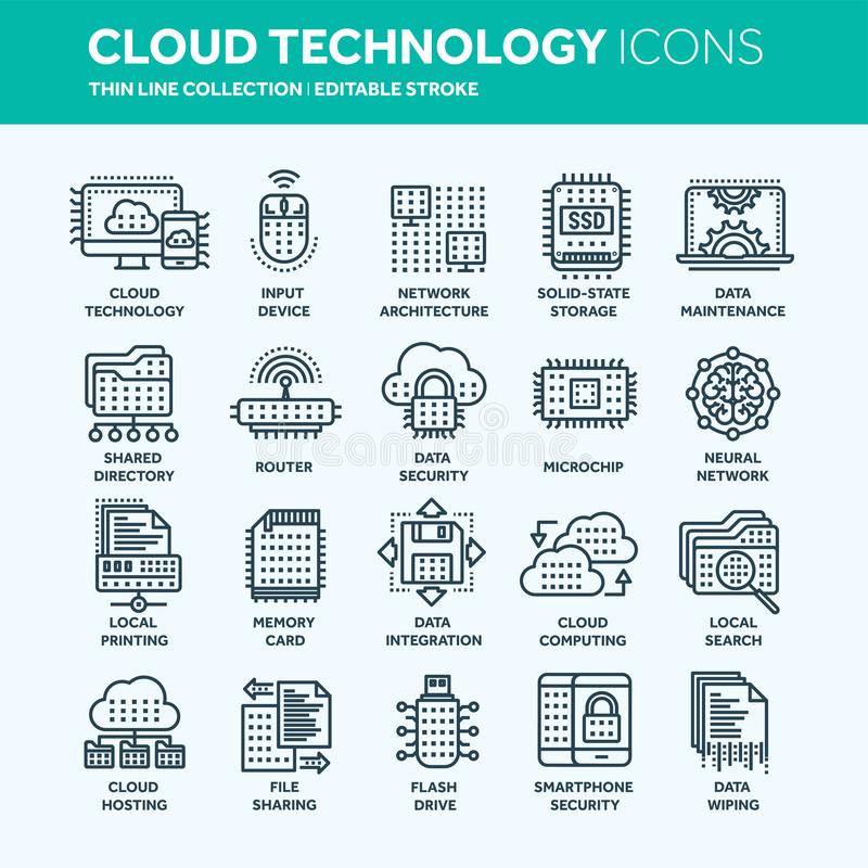 Cloud computing. Internet technology. Online services. Data, information security. Connection. Thin line web icon set royalty free illustration
