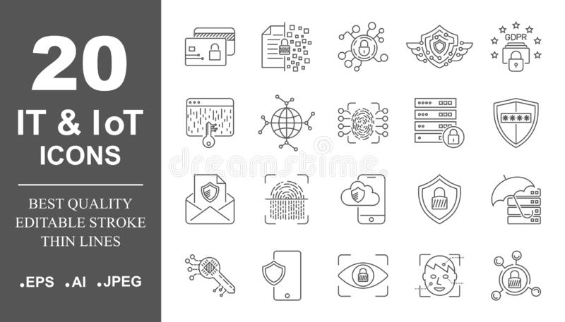 Cloud computing, internet technology, online services, data, information security, connection. Thin line web icon set royalty free illustration