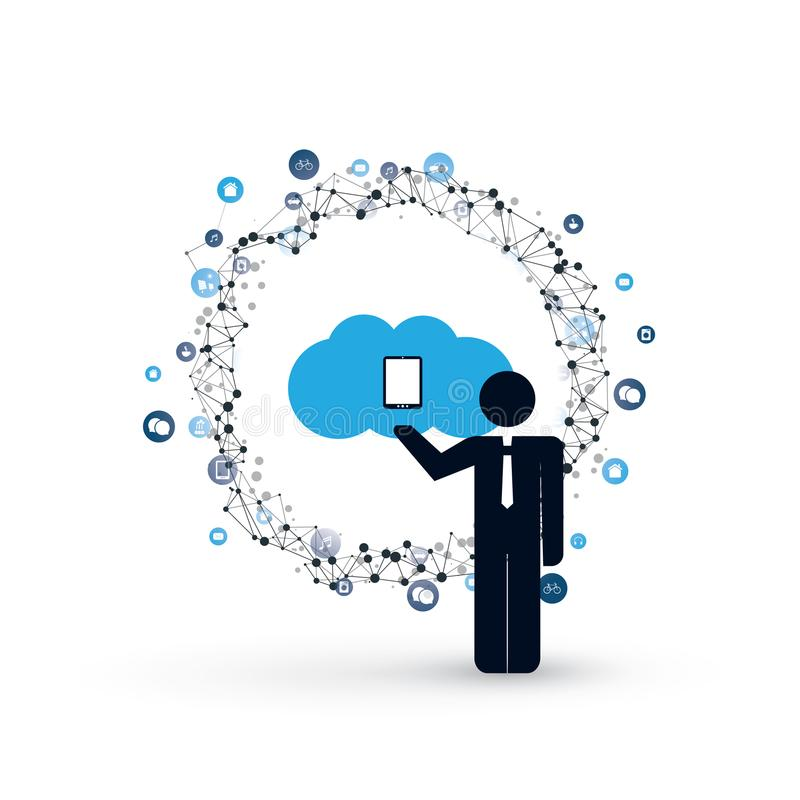 Cloud Computing and Internet of Things Design Concept with a Standing Business Man and Icons - Digital Network Connections. Abstract Colorful Cloud Computing stock illustration