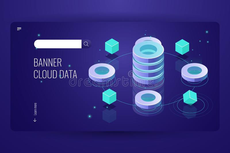 Cloud computing isometric concept, data Insight and analysis, computer science futuristic object, database server room vector illustration