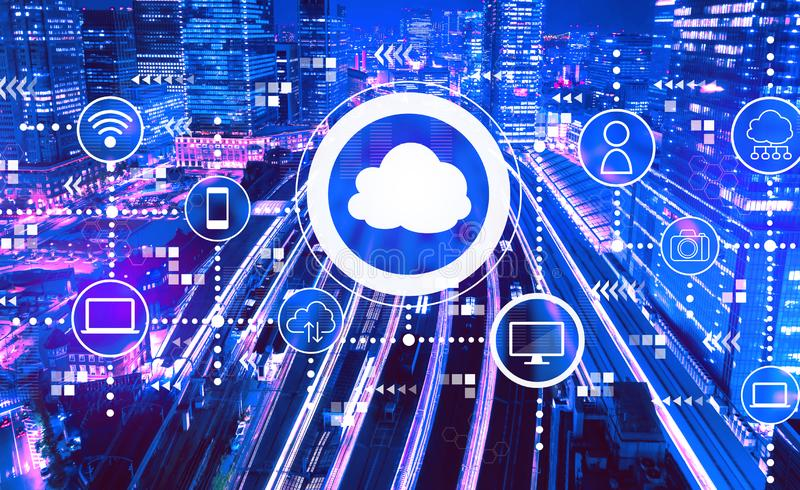 Cloud computing with a large train station in Tokyo, Japan stock photo