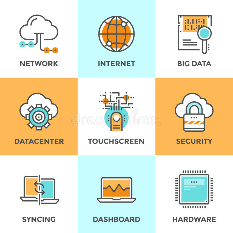 Cloud computing line icons set vector illustration