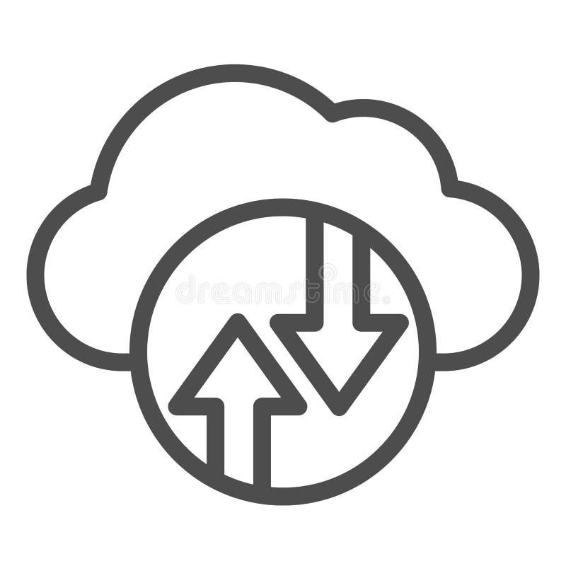 Cloud Computing line-pictogram Cloud hosting vectorillustratie geïsoleerd op wit Ontwerp van de ontwerpstijl van de gegevenscloud royalty-vrije illustratie