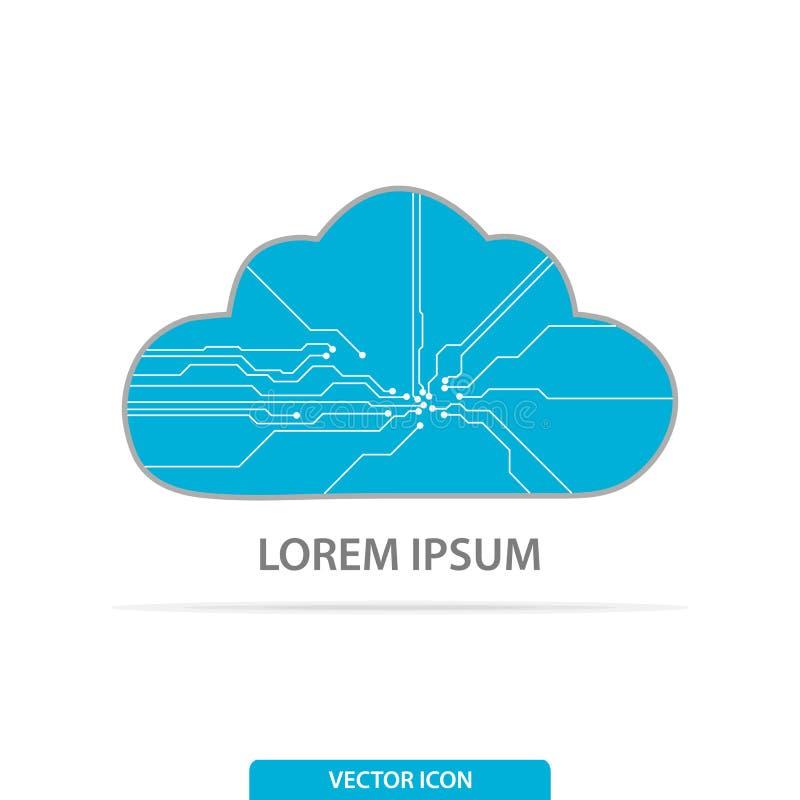 Cloud Computing logo, Cyfrowy magazyn i Obłoczny oblicza usługowy pojęcie, również zwrócić corel ilustracji wektora ilustracja wektor