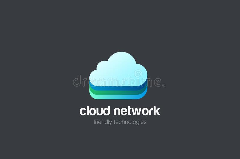 Cloud computing Logo design vector template. Data Storage network technology Logotype icon royalty free illustration