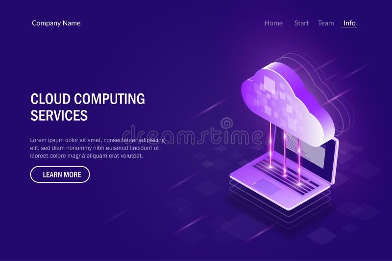 Cloud Computing mantiene concepto isométrico Sincronización entre el ordenador portátil y el almacenamiento de la nube Poder d ilustración del vector