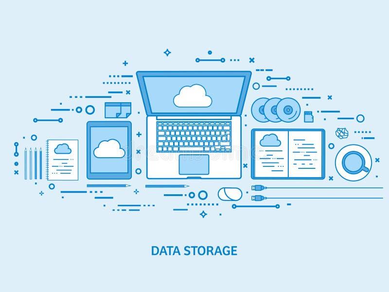 Cloud computing, media data server. Web storage. Digital technology. Internet connection. Flat blue outline background royalty free illustration