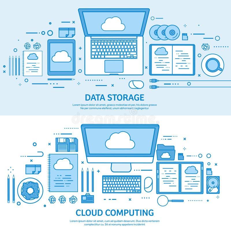 Cloud computing, media data server. Web storage. Digital technology. Internet connection. Flat blue outline background vector illustration